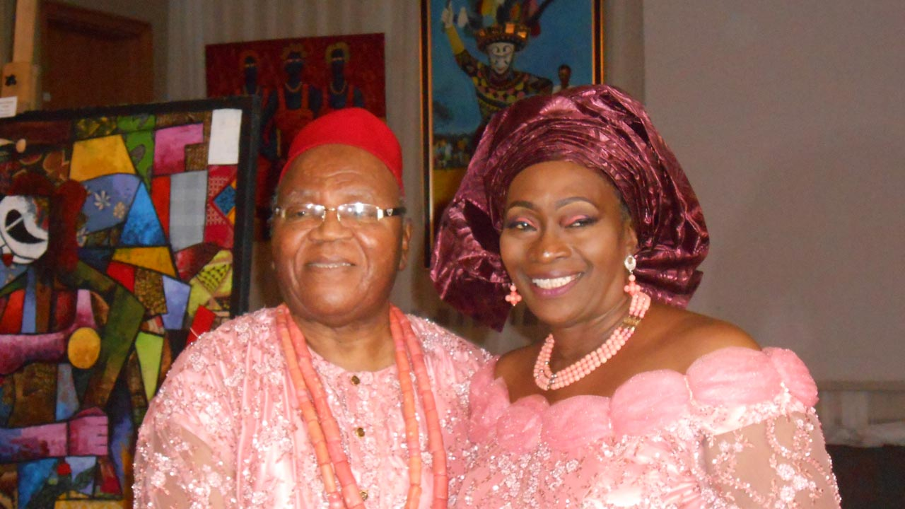 Obiora with wife