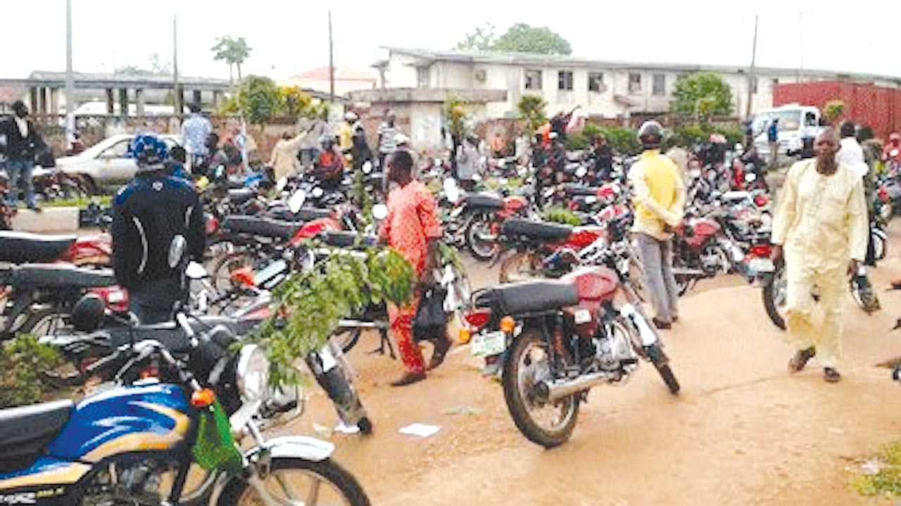 Okada riders protesting the killing of their member