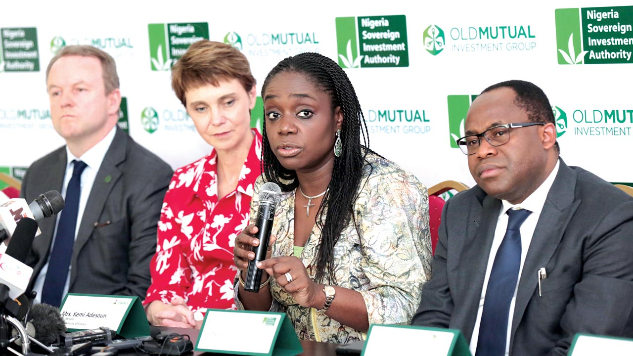 CIO, Old Mutual Investment Group, Hywei George; CEO, OMIG, Diane Radley; Minister of Finance, Kemi Adeosun; and MD/CEO, Nigeria Sovereign Investment Authority, Uche Orji, at the agreement-signing in Abuja… recently.