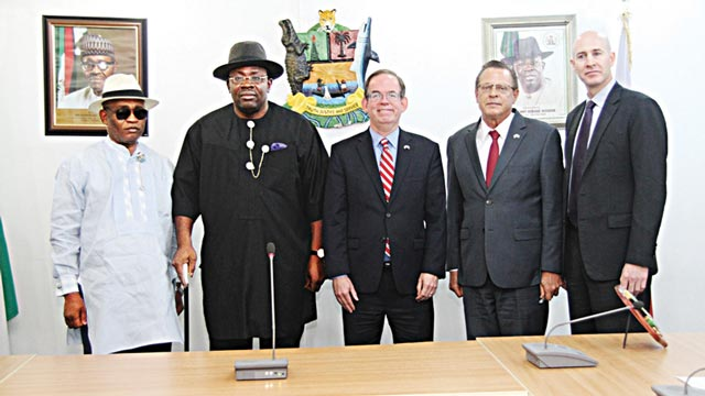 Bayelsa State Governor Seriake Dickson (second left); his deputy, Rear Admiral Gboribiogha John Jonah (rtd.) (left); Deputy Chief of Mission of the United States Embassy in Nigeria, David Young; Consul-General, U.S. Embassy, John Bray and the Chief of Political and Economic Section of the U.S. Embassy, Tom Hines, during a courtesy call by the embassy officials to Government House, Yenagoa...yesterday.