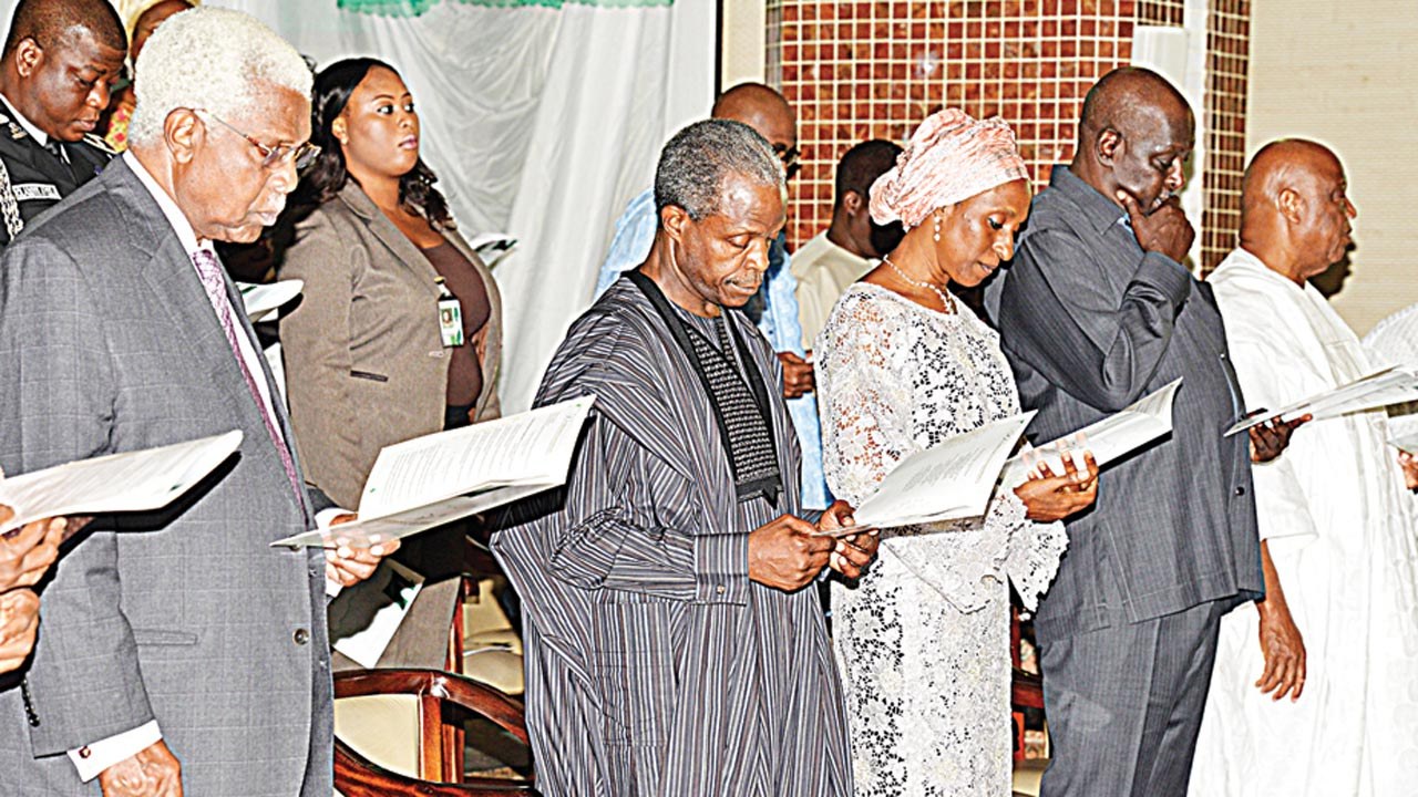 Former Vice President, Alex Ekwueme (left); Vice President, Yemi Osinbajo; wife of the Vice President, Mrs. Dolapo; Secretary to the Government of the Federation, David Babachir; and Senator Barnabas Gemade, during an interdenominational service to mark Nigeria's 56th independence anniversary at the National Christian Centre, Abuja...yesterday PHOTO: PHILIP OJISUA
