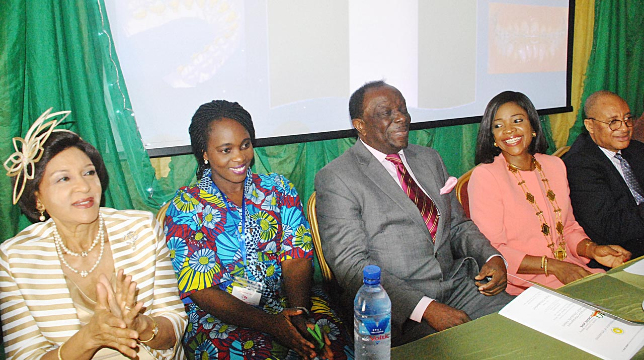Special guest and Publisher, The Guardian, Lady Maiden Alex-Ibru (left), keynote Speaker, Dr. Norvishie Arkutu, chairman of the occasion, Dr. Sonny Kuku, President, Nigerian Association of Orthodontists, Dr. Ifeoma Utomi and her husband, Professor Pat Utomi, during the orthodontists' 10th Scientific Conference and Annual General Meeting, at the Civic Centre, Victoria Island Lagos…yesterday PHOTO: OSENI YUSUF.