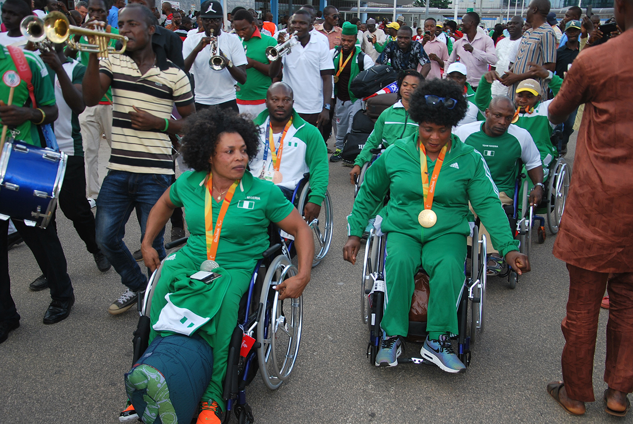 Some members of Nigeria's contingent to the Rio 2016 Paralympics on arrival at Nnnamdi Azikiwe International Airport, Abuja, at the weekend PHOTO: PHILLIP OJISUA