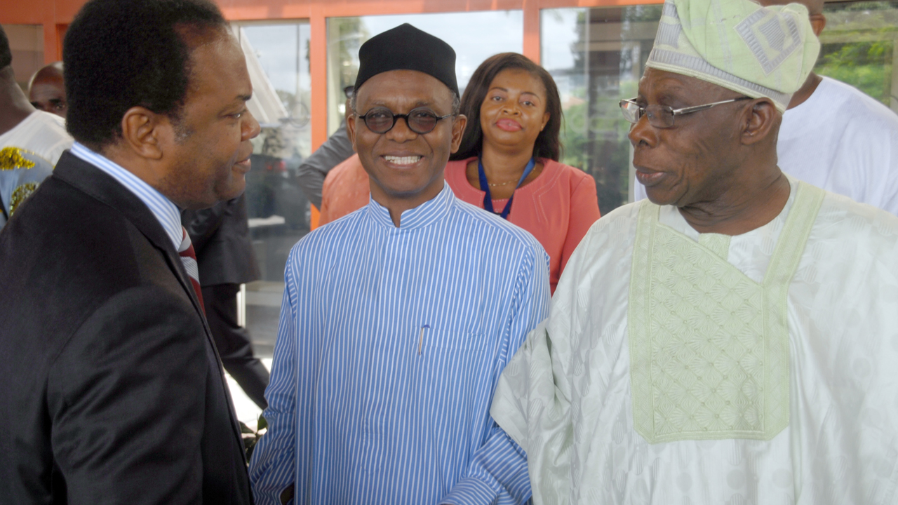 Former Cross Rivers State governor Mr Donald Dude; Governor of Kaduna State, Mallam Nasir EL'Rufai and Former president Olusegun Obasanjo during the Pension world Summit in Abuja on Monday. PHOTO: LUCY LADIDI ALUKPO