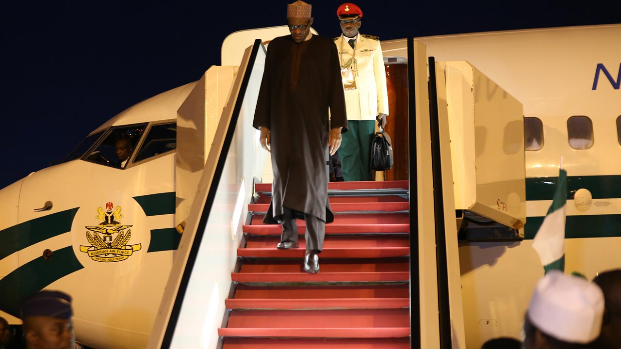 President Muhammadu Buhari arrives New York to attend 71st session of UNGA.
