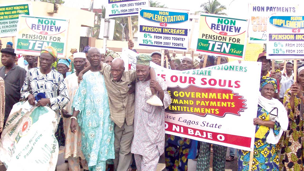 Pensioners protesting non-payment of entitlements