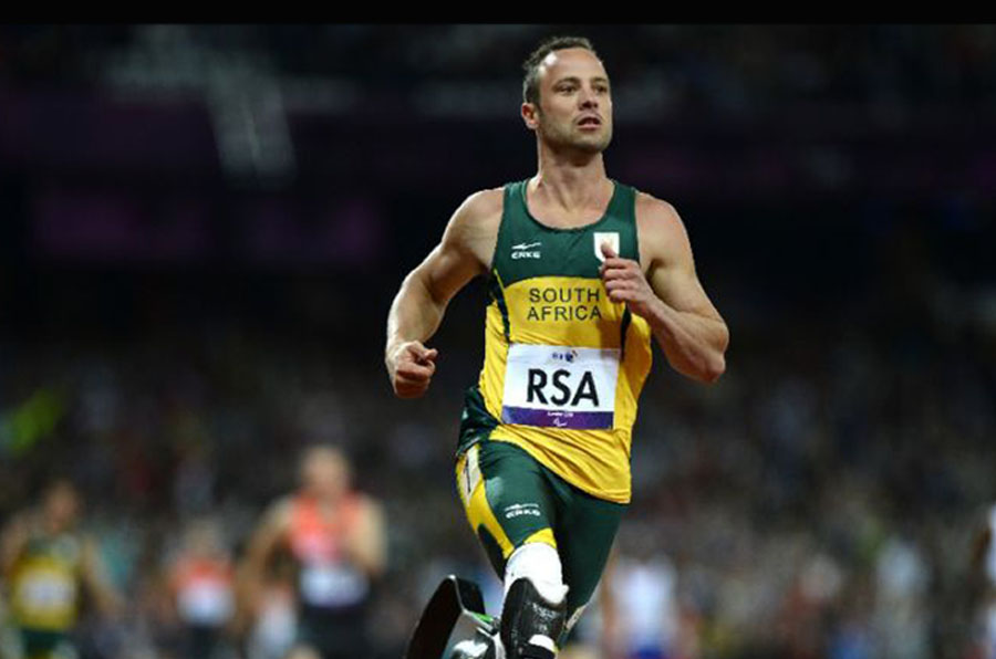 South African paralympian Oscar Pistorius' sprint around the 400m track was the first time in history that a double-amputee had raced at the Olympic Games (AFP Photo/Adrian Dennis)