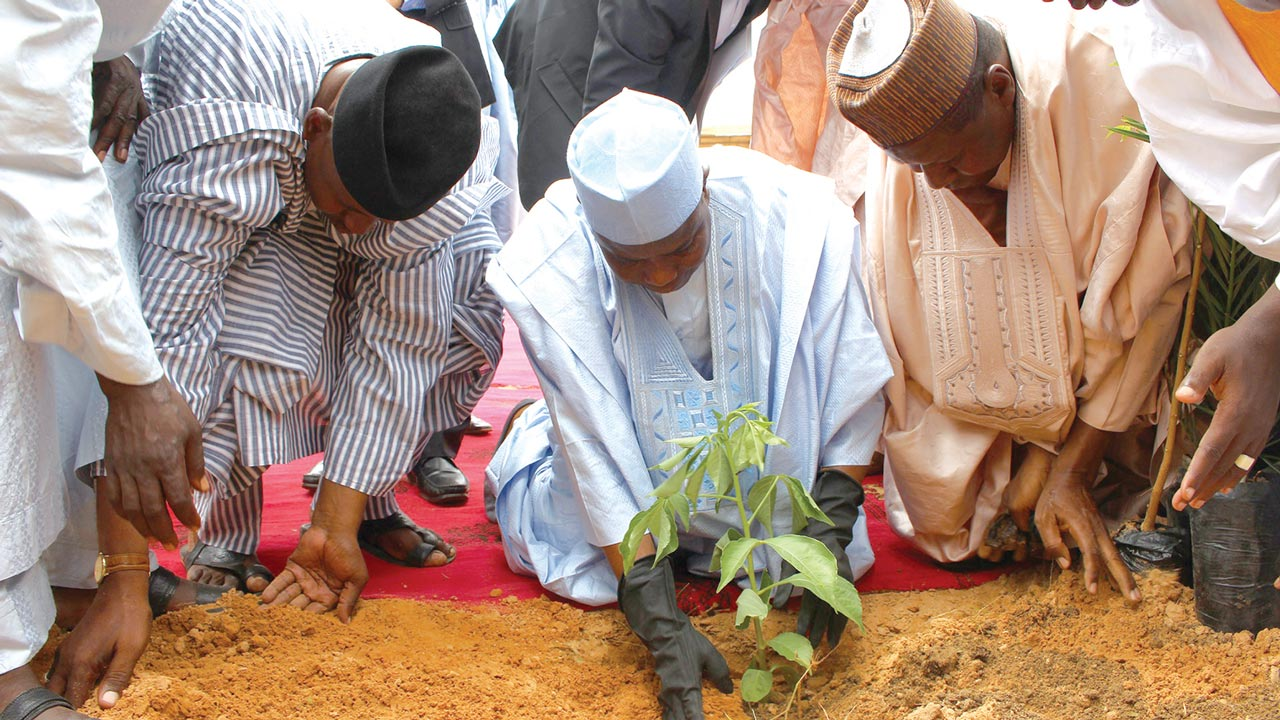 Governor Aminu Waziri Tambuwal planting a tree to flag off this year's tree planting campaign in Sokoto