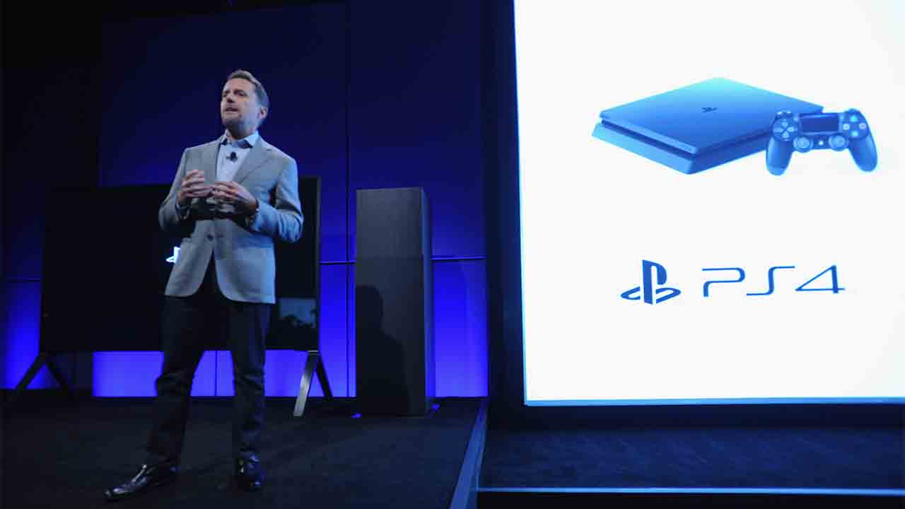 NEW YORK, NY - SEPTEMBER 07: Andrew House, President and Global CEO of Sony Interactive Entertainment presents the slimmer and lighter new PlayStation 4 onstage at PlayStation Meeting 2016 at PlayStation Theater on September 7, 2016 in New York City.   Brad Barket/Getty Images for Sony/AFP