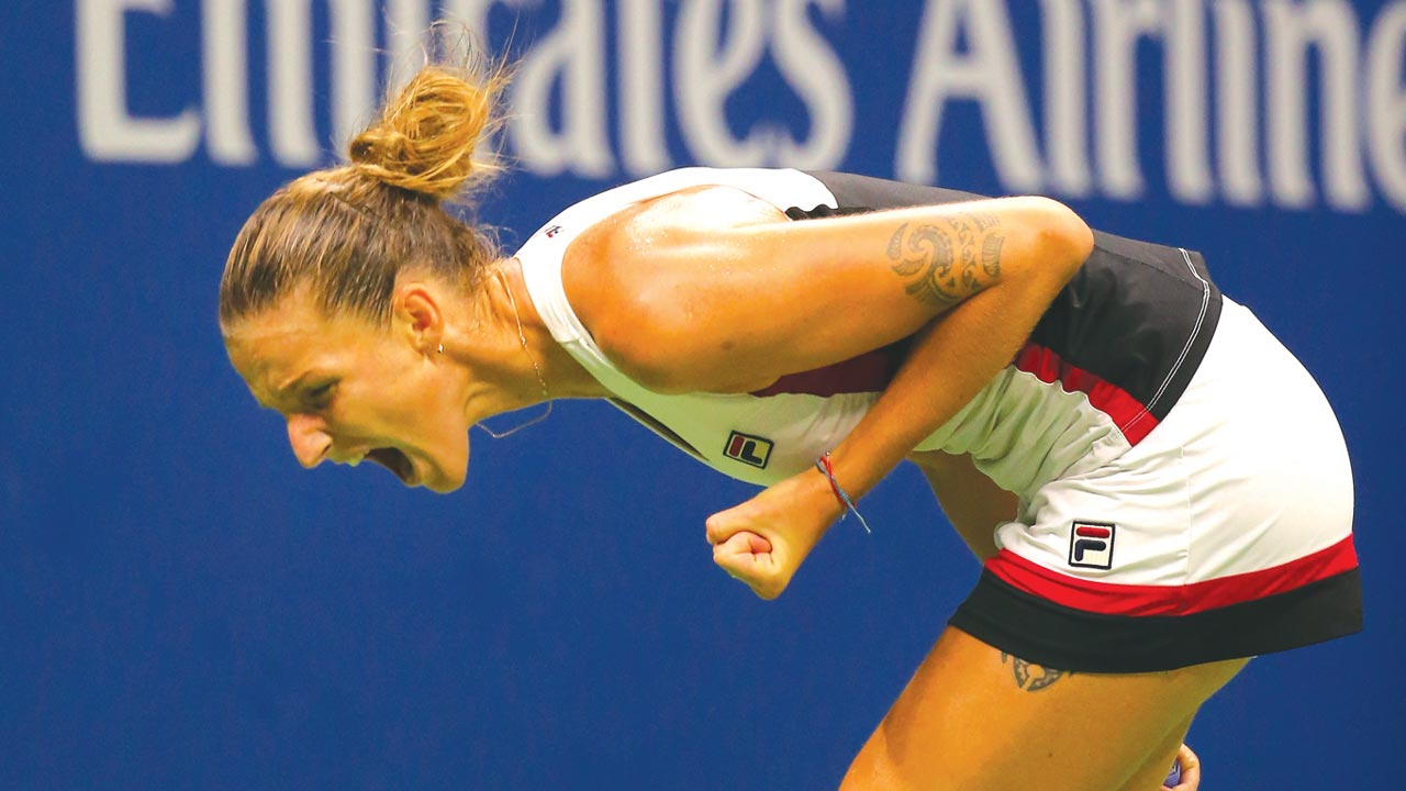 Karolina Pliskova celebrates after beating Serena Williams in their U.S Open women's singles semifinal…yesterday. PHOTO: AFP.