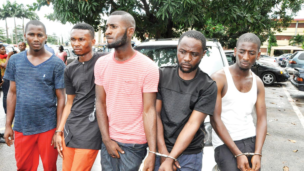 The suspects paraded by the police...yesterday