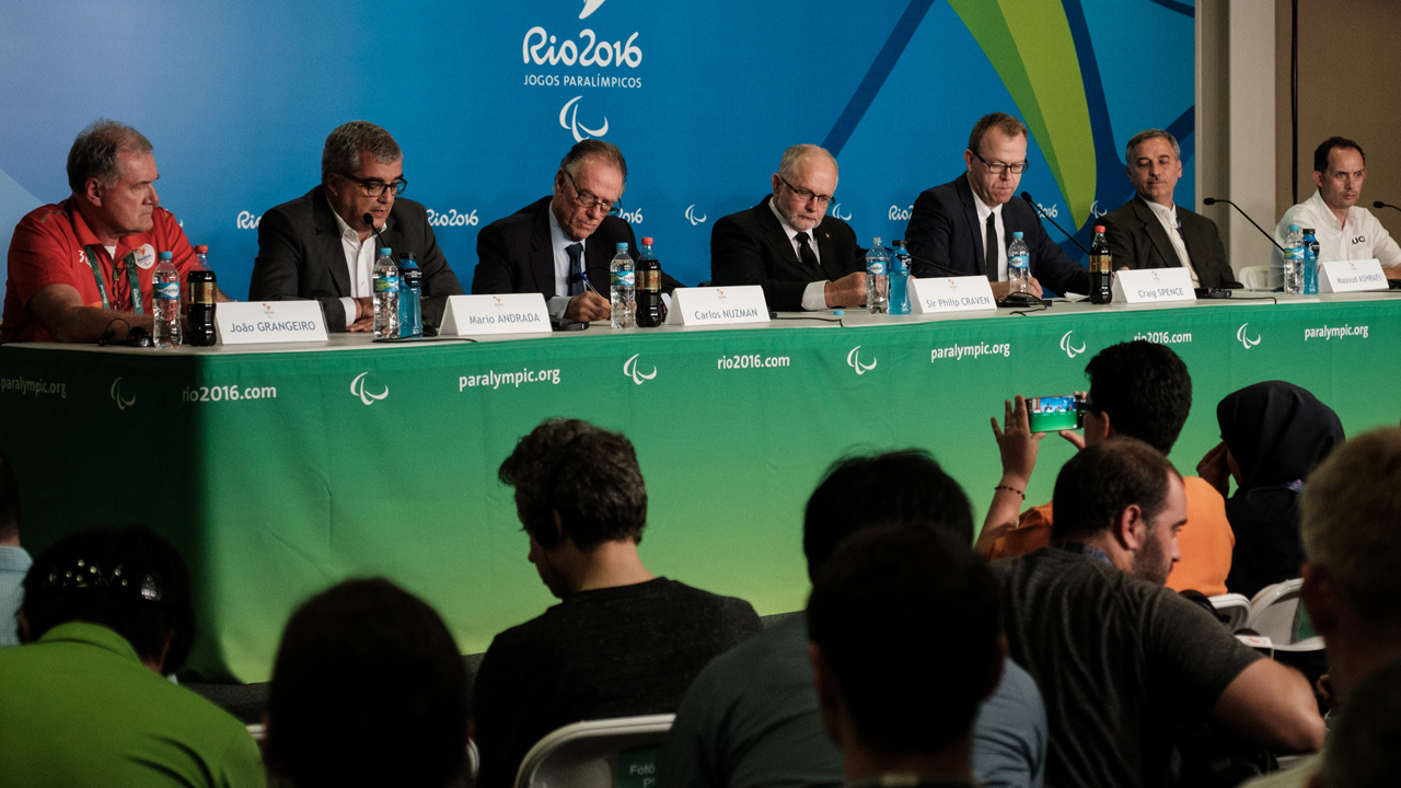 The President of the International Paralympic Committee Sir Philip Craven (C), the President of the Rio 2016 Organizing Committee Carlos Nuzman (3rd L), the sports director at Union Cycliste Internationale Piers Jones (R) and the secretary general of the Iran National Pralympic Committee Masoud Ashrafi (2nd R) attend a press conference for the death of Iranian cyclist Bahman Golbarnezhad who crashed for death during men's road race (C4-5) of Rio 2016 Paralympic games at the Olympic park in Rio de Janeiro, Brazil, on September 17, 2016. PHOTO: AFP/Yasuyoshi Chiba