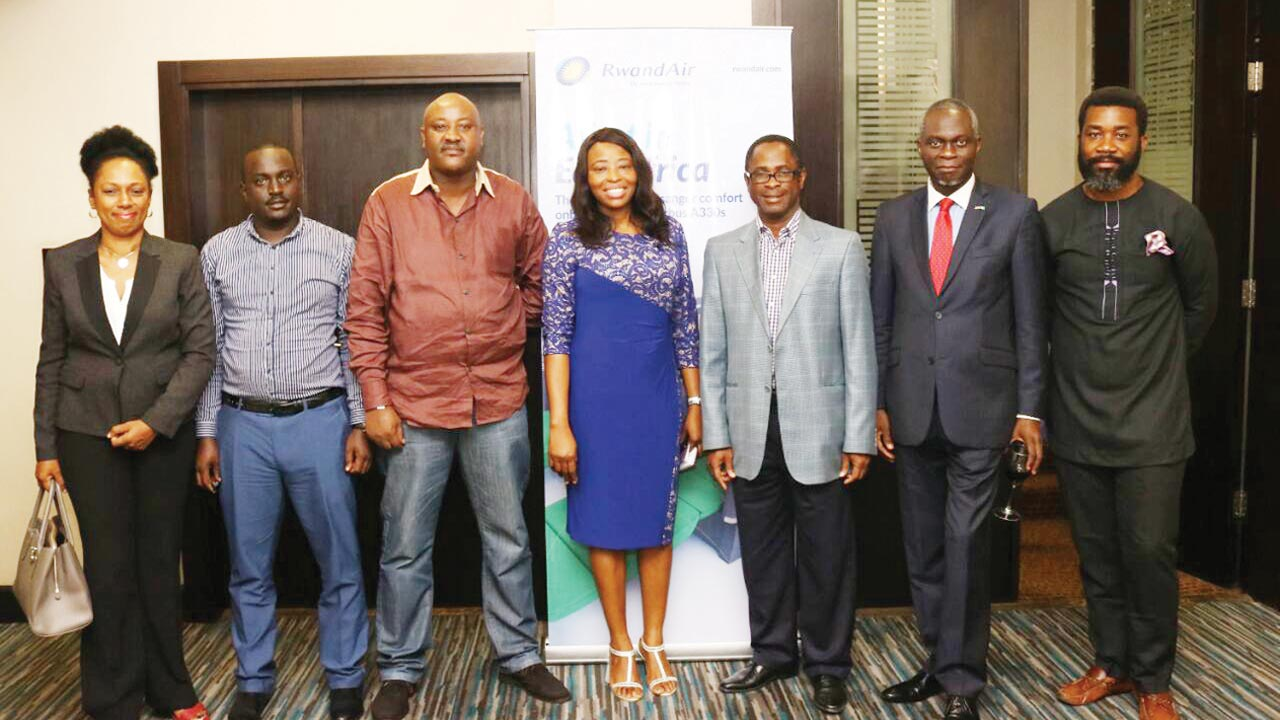 Head of corporate clients, Ronke Ogunbufunmi (left); Robinson Chachana; Station Manager, RwandAir, Jimmy Mitali; Country Manager, Rwand Air, Ibiyemi Odusi; Tayo Babalakin; Partner, Consultants Collaborative Partnership, Prince Dapo Adelagan; President and Chairman, Nigerian Chamber of Commerce, Enyi Omeruah, recently in Lagos