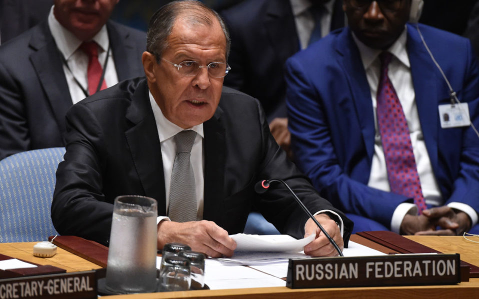 Russian Foreign Minister Sergey Lavrov speaks during a Security Council Meeting September 21, 2016 on the situation in Syria at the United Nations in New York. The UN Security Council met Wednesday for crisis talks on Syria as air raids shook Aleppo and diplomatic tensions ran high over an attack on an aid convoy. / AFP PHOTO / TIMOTHY A. CLARY