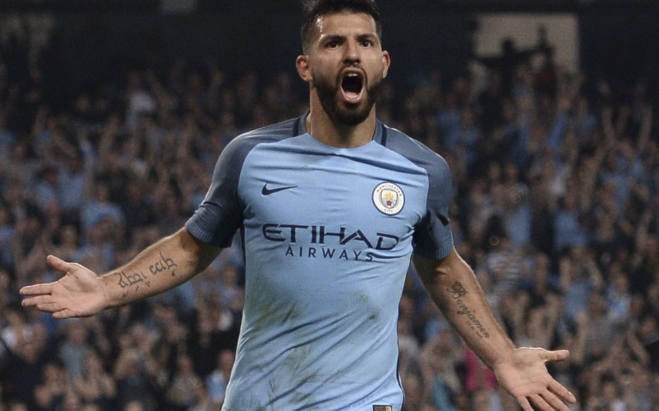 Manchester City's Argentinian striker Sergio Aguero  / AFP PHOTO / OLI SCARFF