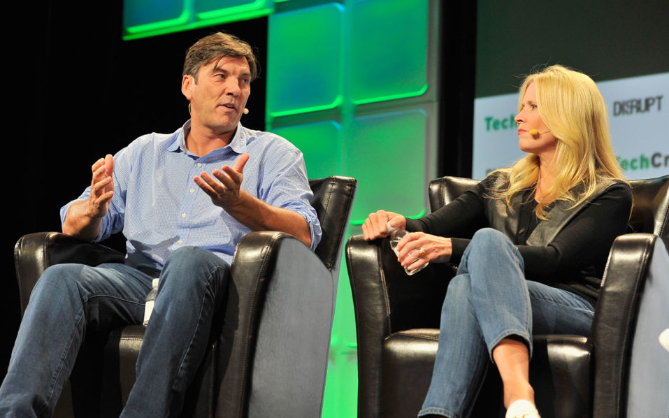 SAN FRANCISCO, CA - SEPTEMBER 12: AOL Chairman and CEO Tim Armstrong (L) and Executive Vice President and President of Innovation at Verizon and New Business Marni Walden speak onstage during TechCrunch Disrupt SF 2016 at Pier 48 on September 12, 2016 in San Francisco, California.   Steve Jennings/Getty Images for TechCrunch/AFP