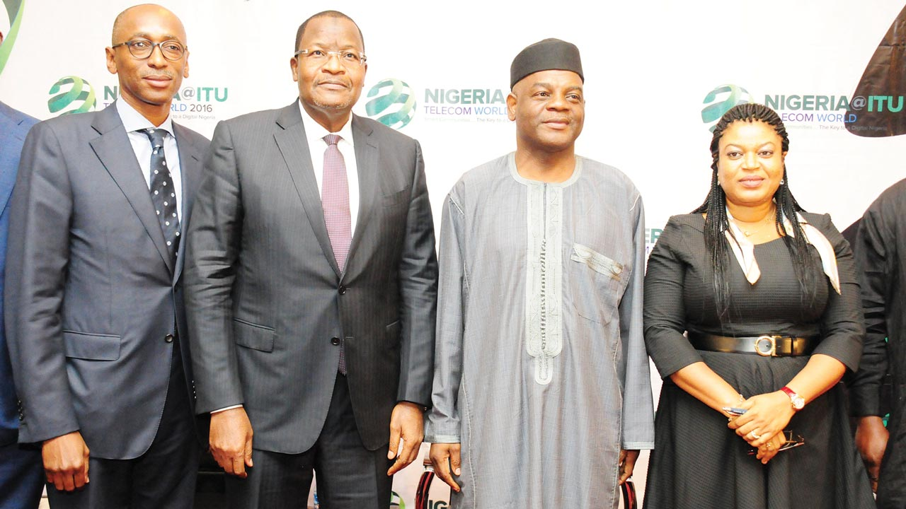 Vice President, Etisalat,  Ibrahim Dikko (left); Executive Vice Chairman, Nigerian Communications Commission (NCC), Prof. Umar Danbatta; Permanent Secretary, Ministry of Communications, Arch. Sonny Echono; Managing Director and Chief Executive Officer, NigComSat, Abimbola Alale, during the ITU Telecom World 2016 Stakeholders' Forum in Lagos on Monday.