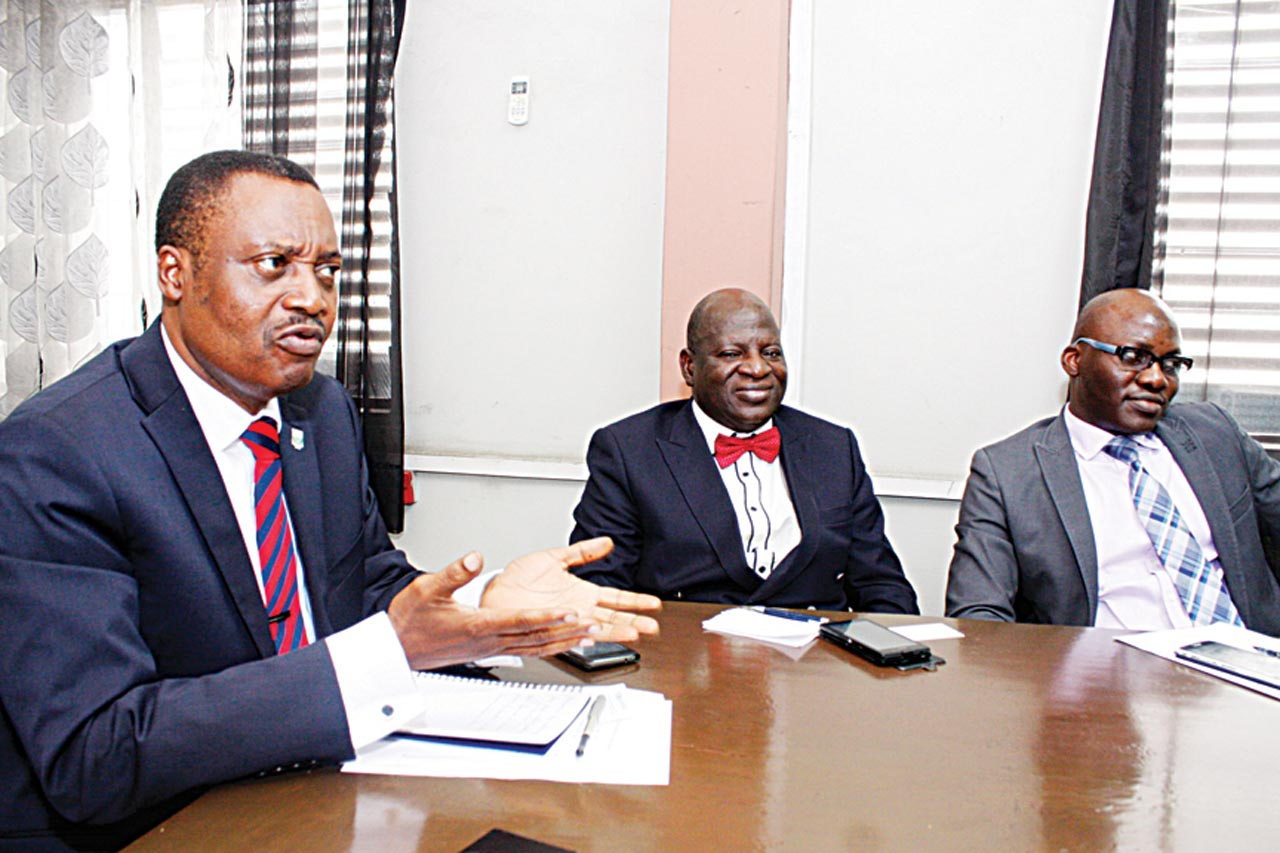 President, Institute of Chartered Accountants of Nigeria (ICAN), Deacon Titus Soetan (left); First Deputy Vice President of the institute, Alhaji Razaq Jaiyeola and Council member, Deji Awobotu during a courtesy visit by ICAN delegation to Rutam House, headquarters of The Guardian in Lagos. PHOTO: FEMI ADEBESIN-KUTI