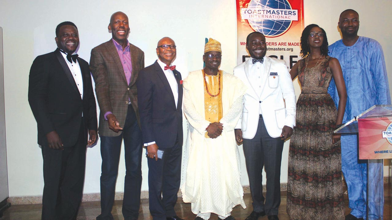 Past presidents of Eagle Toastmasters Club - Akin Semowo (left) Amaechi Okobi; Paul Uduk; current President, Oladele Olunike; Inam Wilson; Keji Sanni and Oluyemi Adeosun at the event.