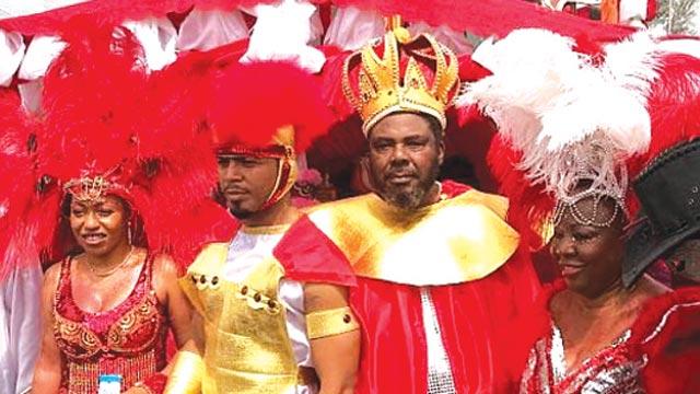 Nollywood stars Rita Dominic, Ramsey Noah, Pete Edochie and Florence Ita Giwa at the Calabar Carnival.