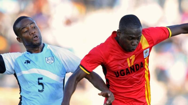 Farouk Miya (right) scored to qualify Uganda for the 2017 Nations Cup in Gabon PHOTO: BBC