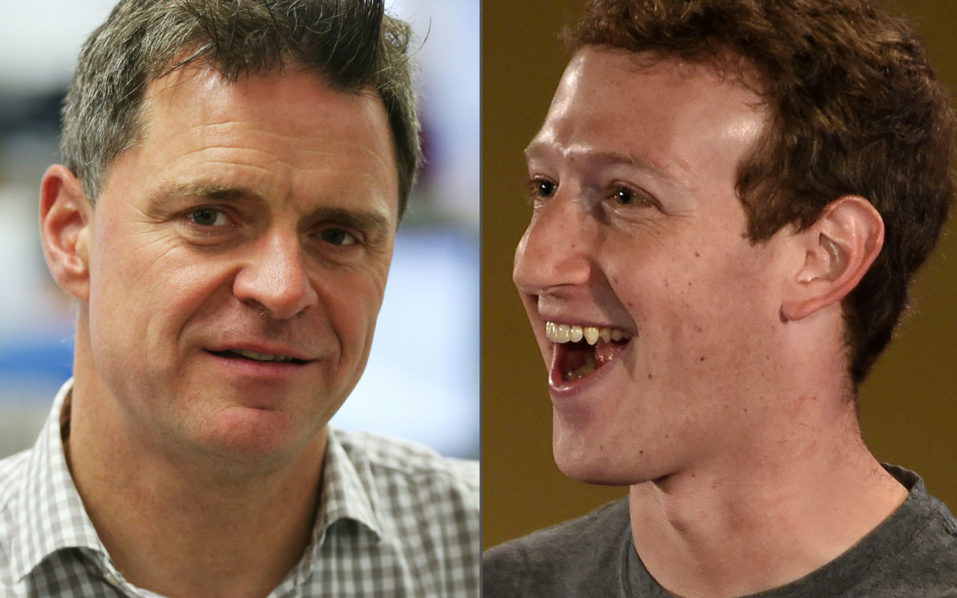 (COMBO) This combination of pictures created on September 9, 2016 shows Espen Egil Hansen (L), editor-in-chief and CEO of Norwegian newspaper Aftenposten (September 9, 2016 in Oslo) and Facebook chief executive and founder Mark Zuckerberg (October 28, 2015 in New Delhi). Espen Egil Hansen wrote an open letter to founder and CEO of Facebook, Mark Zuckerberg, accusing him of threatening the freedom of speech and abusing power after deleting the iconic picture from the Vietnam war, taken by Nick Ut, of a young girl running from napalm bombs.  / AFP PHOTO / NTB Scanpix AND AFP PHOTO / Erik JOHANSEN AND MONEY SHARMA / Norway OUT