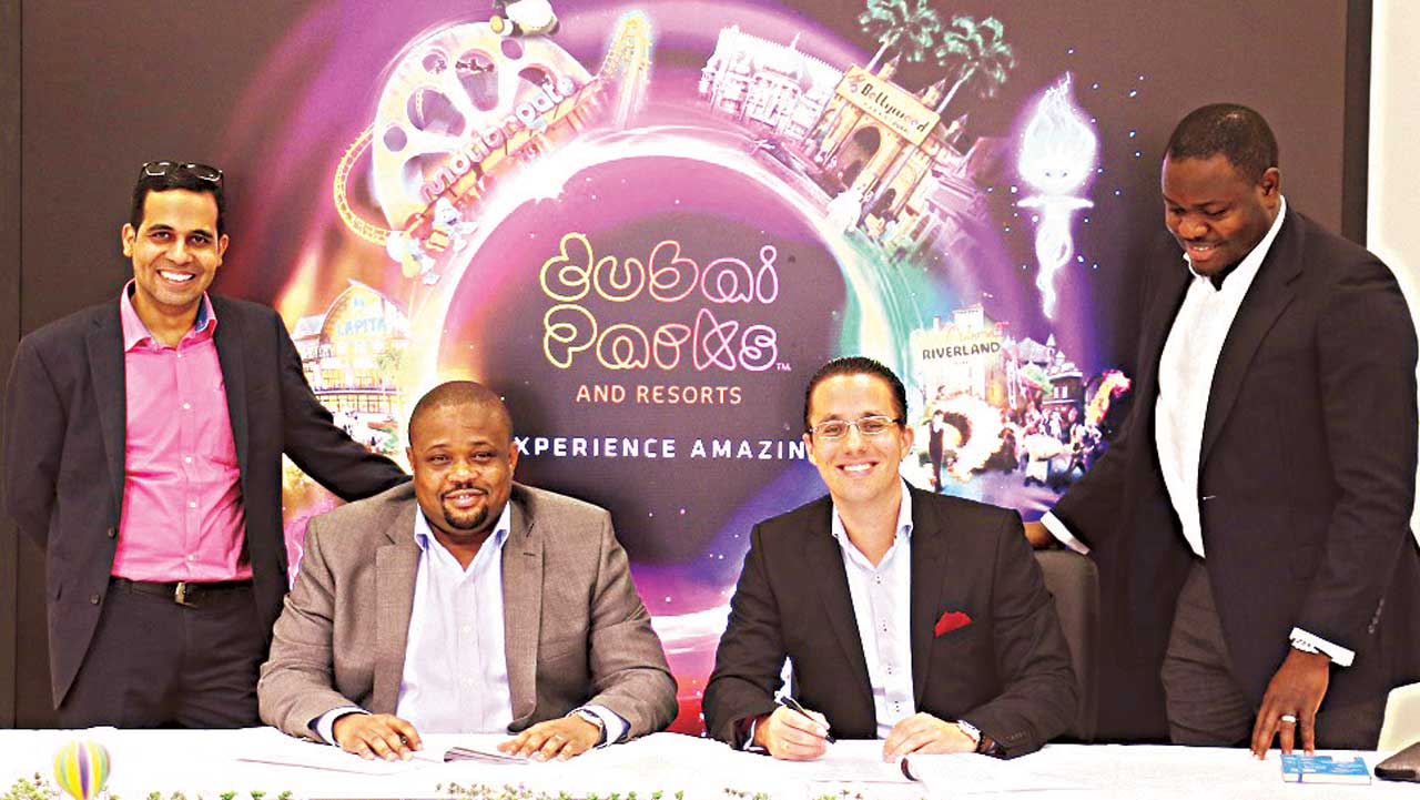 Group Head, Products & Packages Wakanow, Mr. Gautam Bajaj (left); Group Deputy Managing Director and Co-Founder Wakanow, Mr. Ralph Tamuno; Head of Sales, Dubai Parks and Resorts, Mr. Elwin Kemming and Hotel Contracting Relationship Management Executive, Mr. Solomon Ilufoye during the official Memorandum of Understanding signing ceremony between Wakanow and Dubai Parks and Resorts in Dubai…recently