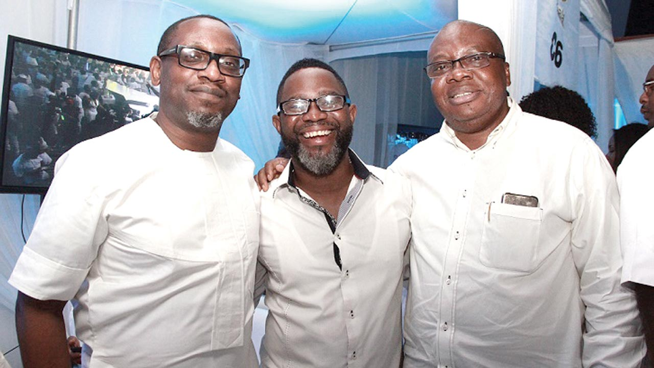 Director, Regulatory and Corporate Social Responsibility, Ikenna Ikeme; Head, Media Planning, Gerald Osugo and Vice President, Consumer Sales and Service, Ken Ogujiofor, all of Etisalat Nigeria at the 'All White Party', held in Lagos at the weekend.