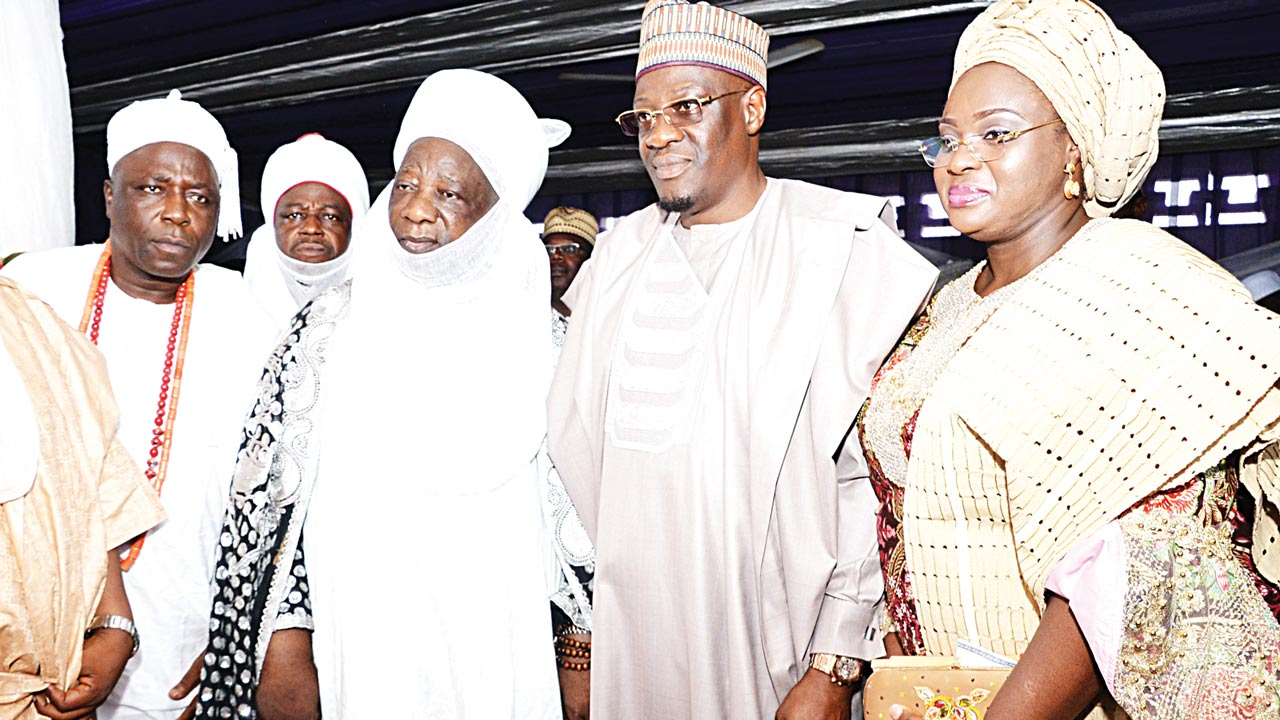 Kwara State Governor, Dr. Abdulfatah Ahmed (second right); his wife, Omolewa; Emir of Ilorin Alhaji Ibrahim Sulu-Gambari and Olusin of Isanlu-Isin, Oba Solomon Oloyede, during the emir's Sallah homage to the governor at Government House, Ilorin...yesterday.
