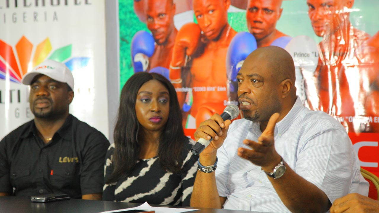 GOtv Marketing Manager, Johnson Ivase; Public Relations Manager, GOtv, Efe Obiomah, and Managing Director, Flykite Production, Jenkins Alumona, during the unveiling of the GOtv Boxing Night 9 programme at the National Stadium, Lagos.