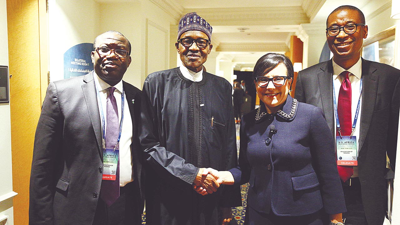 Minister of Mines and Steel, Kayode Fayemi (left); President Muhammadu Buhari; United States Secretary of Commerce, Penny Sue Pritzer and Minister of Industry, Trade and Investment, Okechukwu Enelamah at the U.S. Africa Business Forum in New York …yesterday. PHOTO: STATE HOUSE