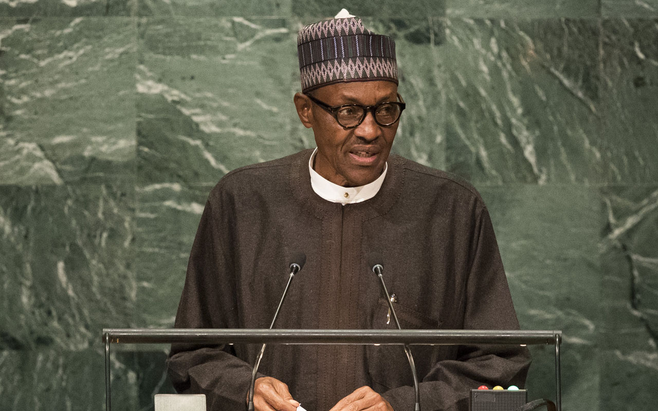 NEW YORK, NEW YORK - SEPTEMBER 20: President of Nigeria Muhammadu Buhari addresses the United Nations General Assembly at UN headquarters, September 20, 2016 in New York City. According to the UN Secretary-General Ban ki-Moon, the most pressing matter to be discussed at the General Assembly is the world's refugee crisis. Drew Angerer/Getty Images/AFP