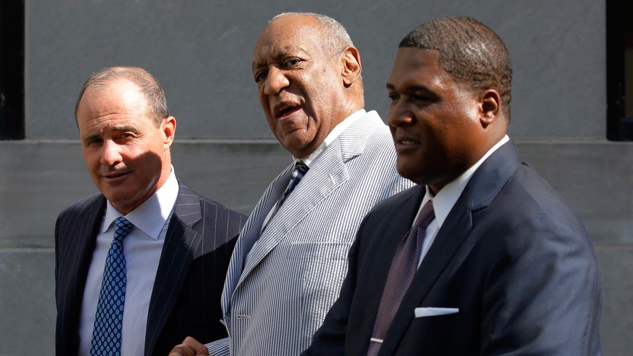 Comedian Bill Cosby leaves the Montgomery County Courthouse with his criminal defense lawyer Brian McMonagle(L) after a pretrial conference related to aggravated indecent assault charges on September 6, 2016, in Norristown, Pennsylvania. Disgraced US megastar Bill Cosby will go on trial June 5, 2017 accused of sexually assaulting a woman at his Philadelphia home more than a decade ago, a judge said Tuesday. The pioneering black comedian, who faces up to 10 years in prison if convicted, had returned to court in Pennsylvania as part of multiple attempts to avoid standing trial for the alleged 2004 assault. Cosby allegedly plied Andrea Constand with pills and wine, then sat her down on a couch, where the actor allegedly assaulted her. PHOTO: DOMINICK REUTER / AFP