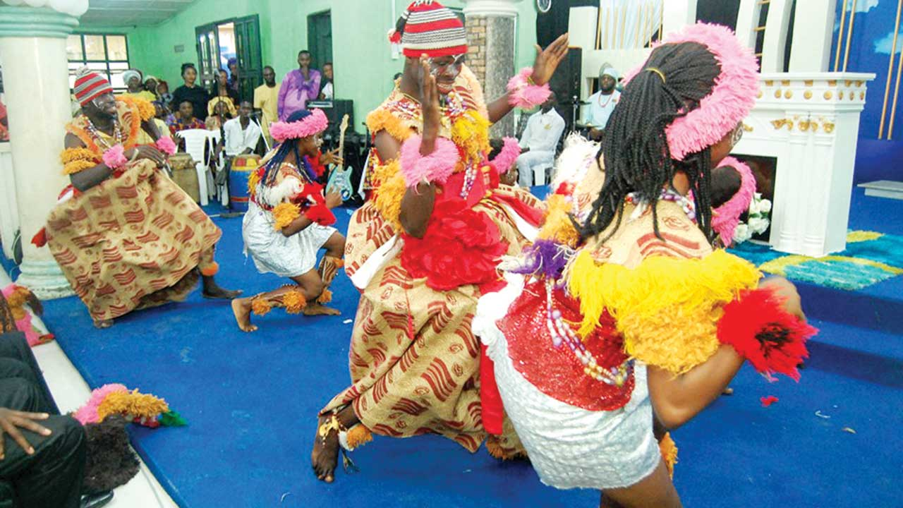 A cultural troupe performing at the event.
