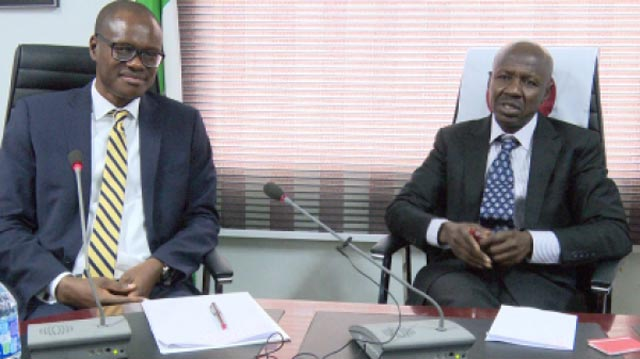Acting Managing Director/CEO, FMBN, Richard Esin and EFCC Chairman, Ibrahim Magu.