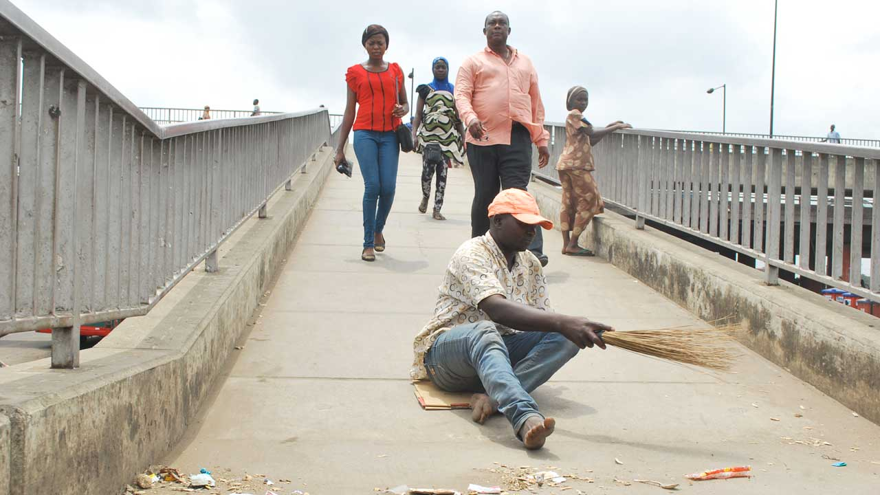 Ibrahim on duty at Oshodi PHOTO: Ayodele Adeniran