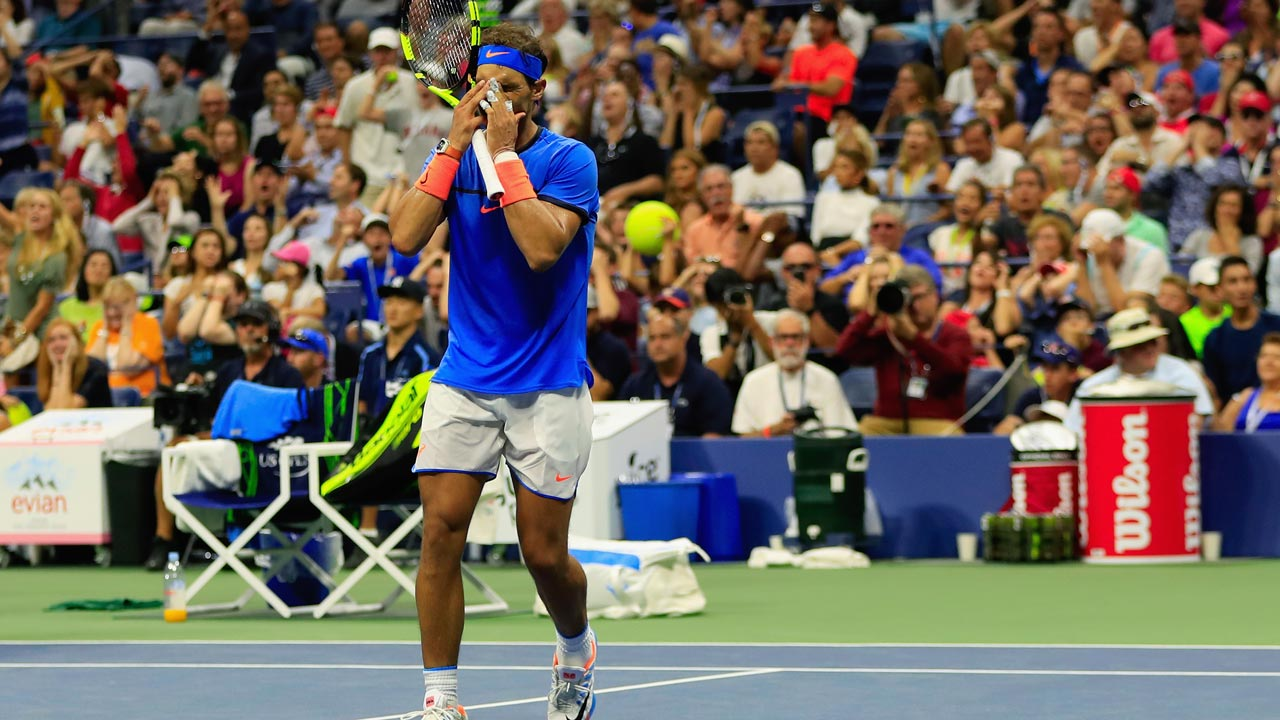 Rafael Nadal of Spain reacts against Lucas Pouille of France during his fourth round Men's Singles match on Day Seven of the 2016 US Open at the USTA Billie Jean King National Tennis Center on September 4, 2016 in the Queens borough of New York City. Jaime L. Mikle/Getty Images for USTA/AFP Jaime L. Mikle / GETTY IMAGES NORTH AMERICA / AFP