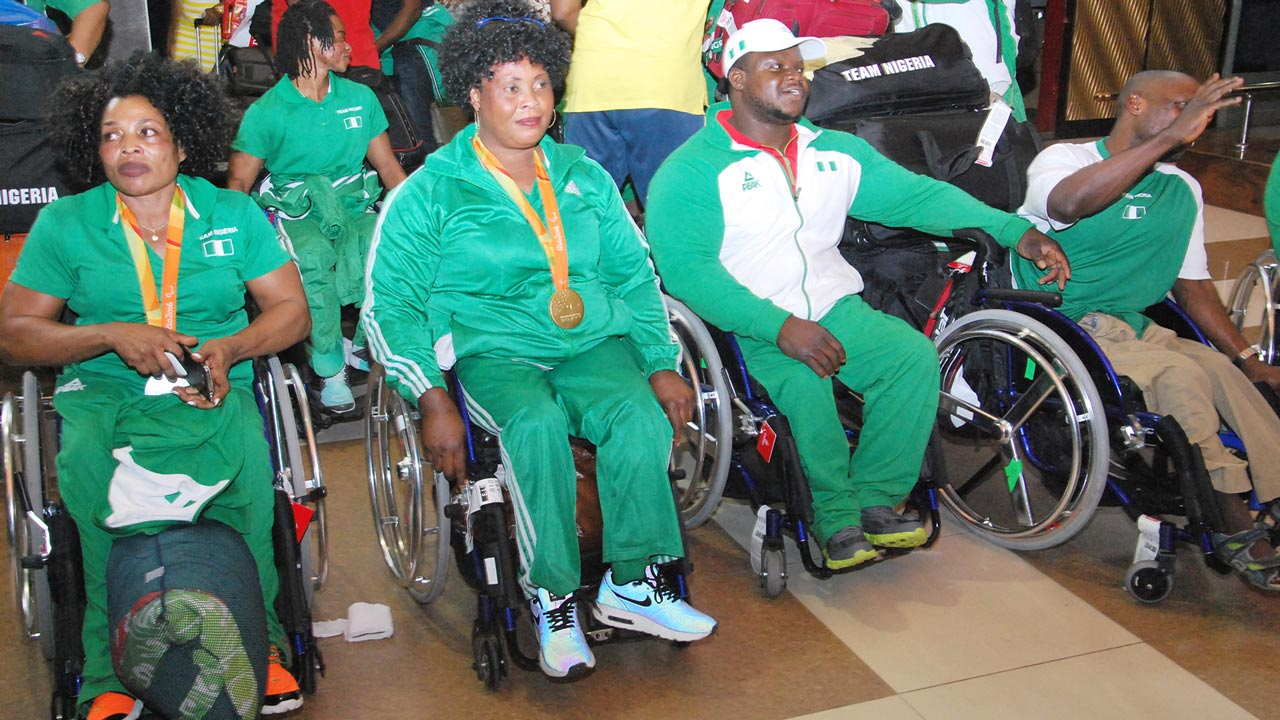 Nigeria Rio Para-lyimpic contingent Gold Medalist arrival at Nnamdi Azikiway International airport Abuja at the Weekend. PHOTO: PHILIP OJISUA