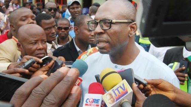 Osagie Ize Iyamu addressing newsmen after casting his vote at Iguododo primary school in Orhionmuon local Government area yesterday. PHOTO NAN