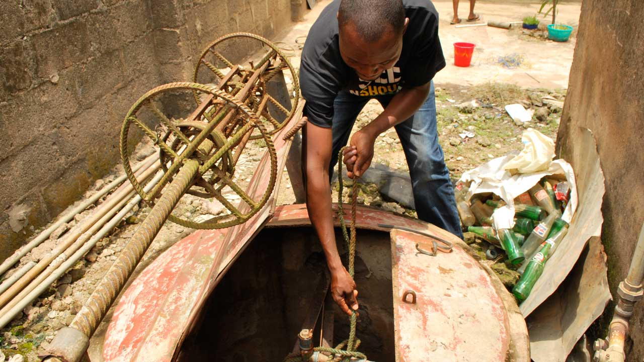 One of the polluted boreholes PHOTO: Ayodele Adeniran