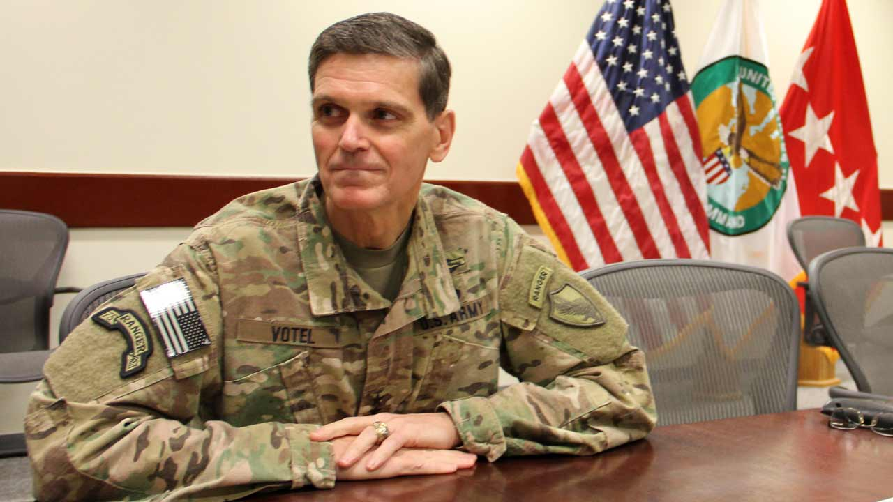 The US military's Central Command chief Army General Joseph Votel speaks to AFP at an undisclosed military base in Southwest Asia on October 27, 2016. Votel said between 800 and 900 Islamic State group fighters have been killed since the Iraqi-led operation to recapture Mosul from the jihadists began. Thomas WATKINS / AFP