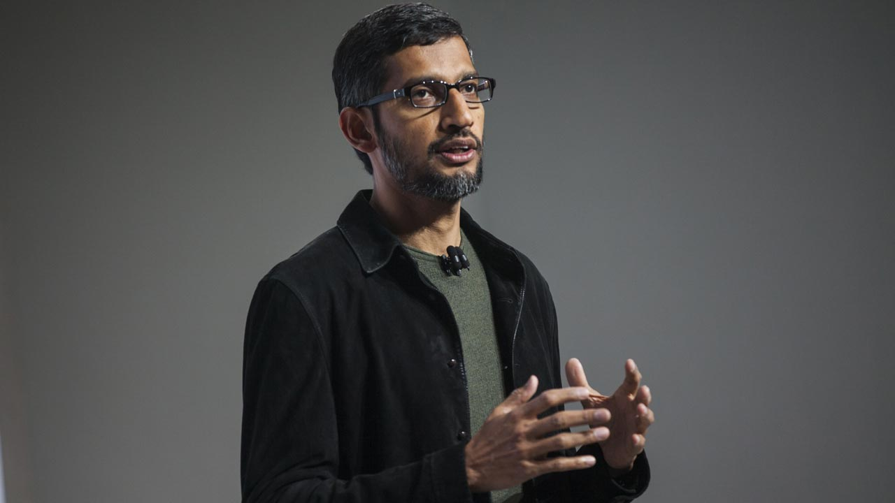 SAN FRANCISCO, CA - OCTOBER 04: Pichai Sundararajan, known as Sundar Pichai, CEO of Google Inc. speaks during an event to introduce Google Pixel phone and other Google products on October 4, 2016 in San Francisco, California. The Google Pixel is intended to challenge the Apple iPhone in the premium smartphone category. Ramin Talaie/Getty Images/AFP Ramin Talaie / GETTY IMAGES NORTH AMERICA / AFP