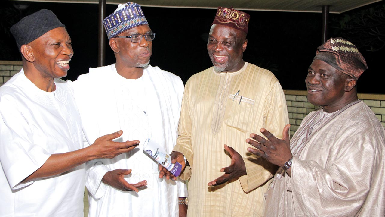 Chairman, Association of Vice-Chancellors of Nigerian Universities(AVCNU), Prof. Adebiyi Daramola (left); Executive Secretary, National Universities Commission (NUC), Prof. Abubakar Rasheed; Registrar/Chief Executive Officer, Joint Admission Matriculation Board(JAMB),Prof. Ishaq Oloyede and Executive Secretary, AVCNU,Prof. Michael Faborode during an award dinner party in honour of its former members in Abuja... recently PHOTO: Lucy Ladidi Elukpo