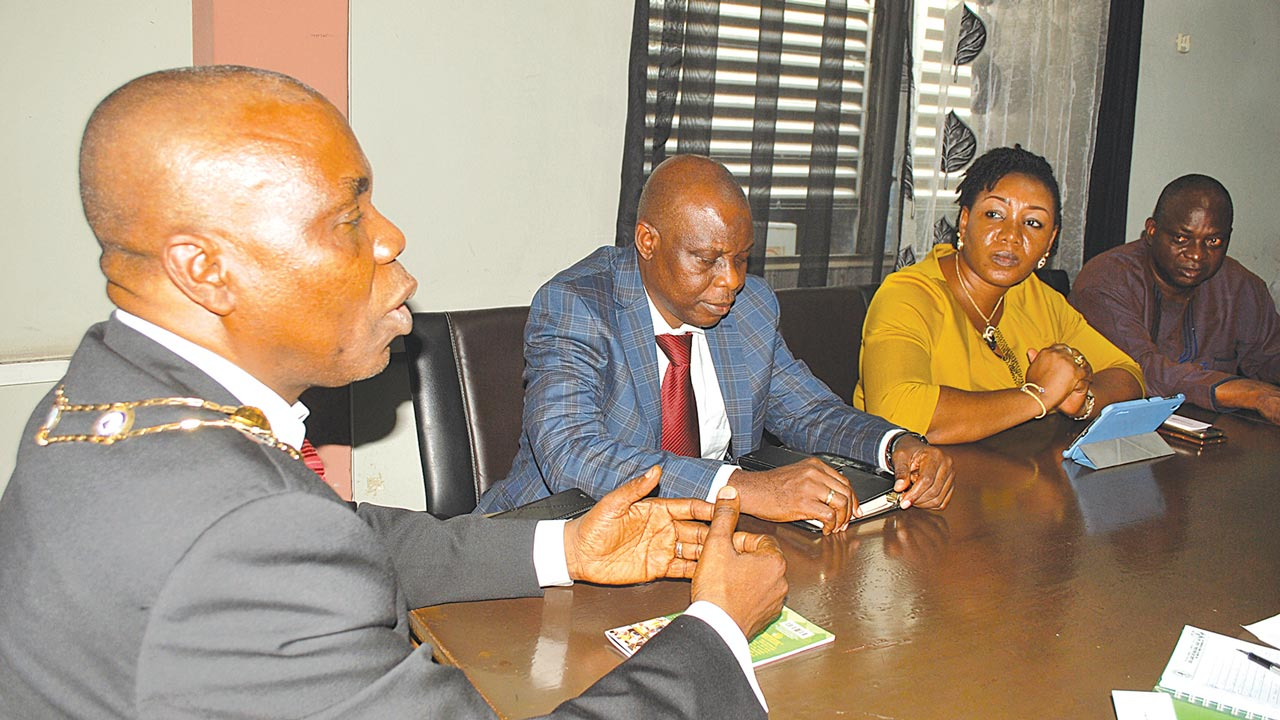 Chairman, Association of Professional Bodies of Nigeria (APBN), Lagos Chapter, Dr. Bolarinde Patunola-Ajayi (left), Vice Chairman, Wasiu Akewusola; Secretary, Lynda Onefeli and Treasurer, Prince Obayomi Ogunjimi during their courtesy visit to The Guardian Newspapers in Lagos. PHOTO: AYODELE ADENIRAN