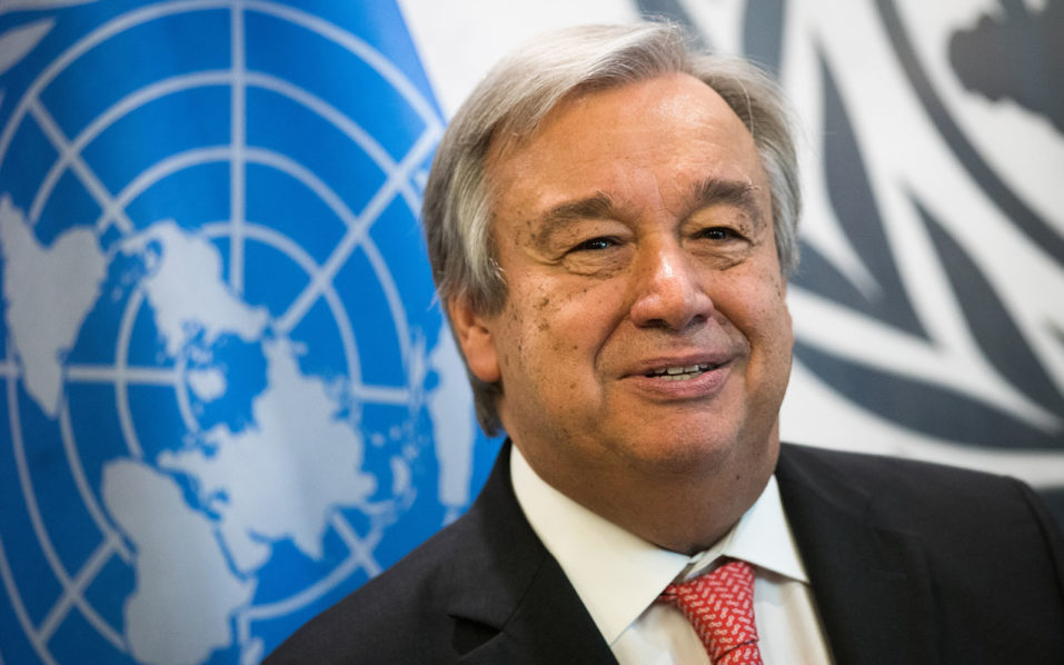 NEW YORK, NY - OCTOBER 13: Newly-elected United Nations Secretary General-designate Antonio Guterres looks on a photo opportunity at the United Nations (UN) headquarters October 13, 2016 in New York City. Guterres, a former prime minister of Portugal, will replace outgoing secretary general Ban Ki-moon starting in January 2017. Drew Angerer/Getty Images/AFP