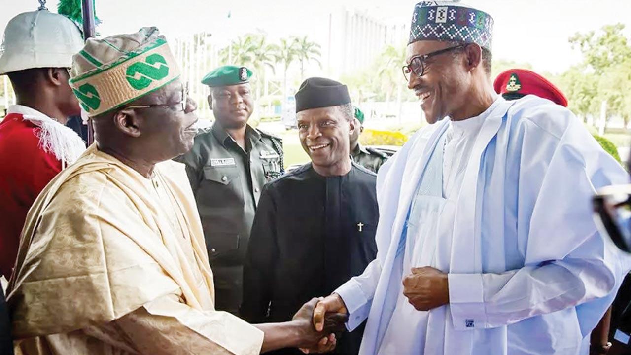Tinubu (left), Osinbajo and President Buhari.