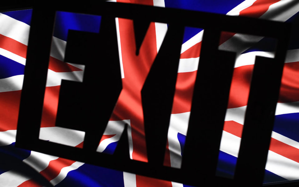 A screen grab shows the British flag with an exit sign superimposed  / AFP PHOTO / LIONEL BONAVENTURE
