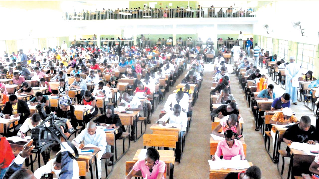 Candidates at a Unified Tertiary MatriculationExaminations (UTME) centre in Lagos.