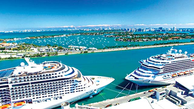 Cruise ships at Miami port