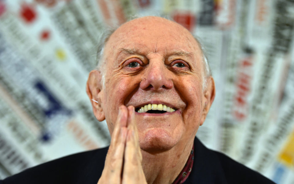 the 1997 Nobel Prize for Literature, Dario Fo attending a press conference at the Foreign Press club in Rome on December 3, 2015. Dario Fo, 90, an Italian actor-playwright, comedian, singer, theatre director, stage designer, songwriter, painter and political campaigner, died on October 13, 2016. / AFP PHOTO / GABRIEL BOUYS